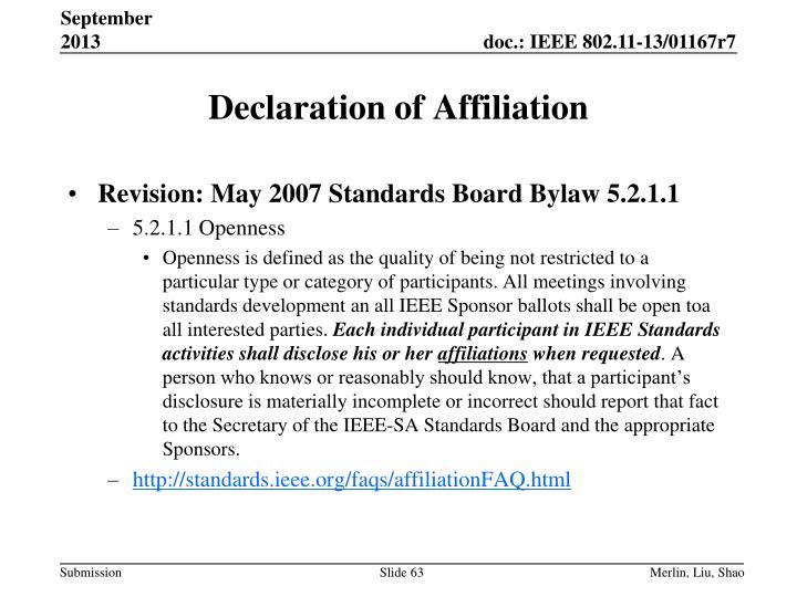 Declaration of Affiliation