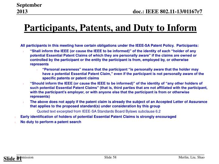 Participants, Patents, and Duty to Inform