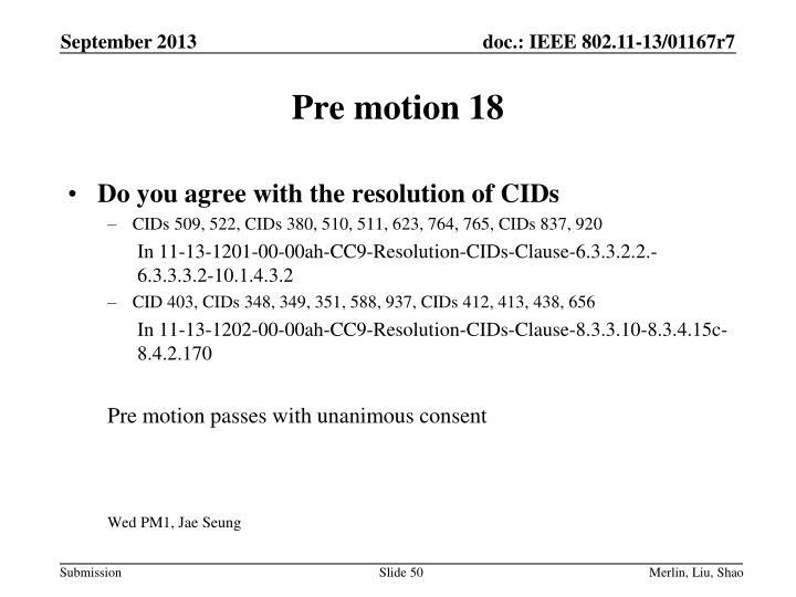 Pre motion 18