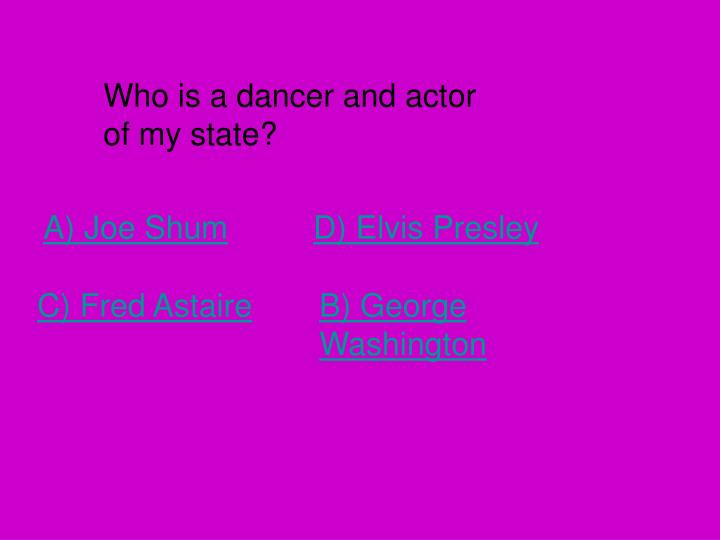 Who is a dancer and actor of my state?