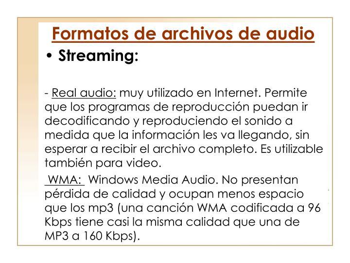Formatos de archivos de audio