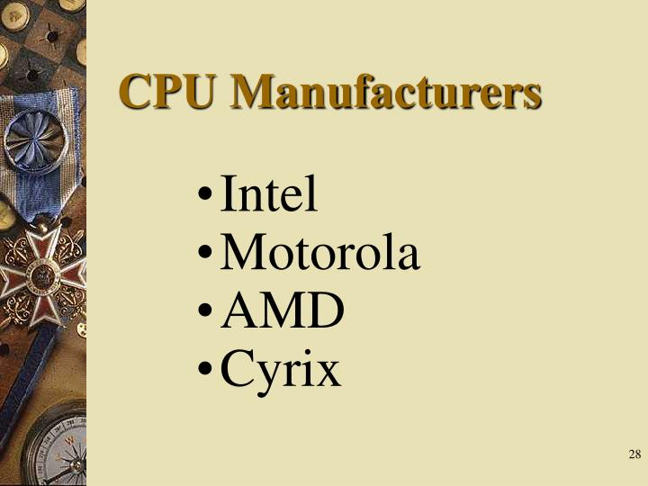 CPU Manufacturers