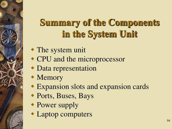 Summary of the Components in the System Unit