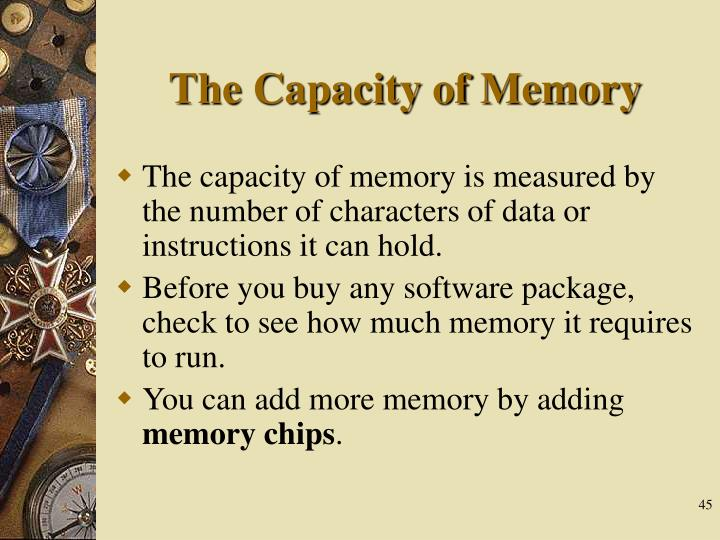 The Capacity of Memory