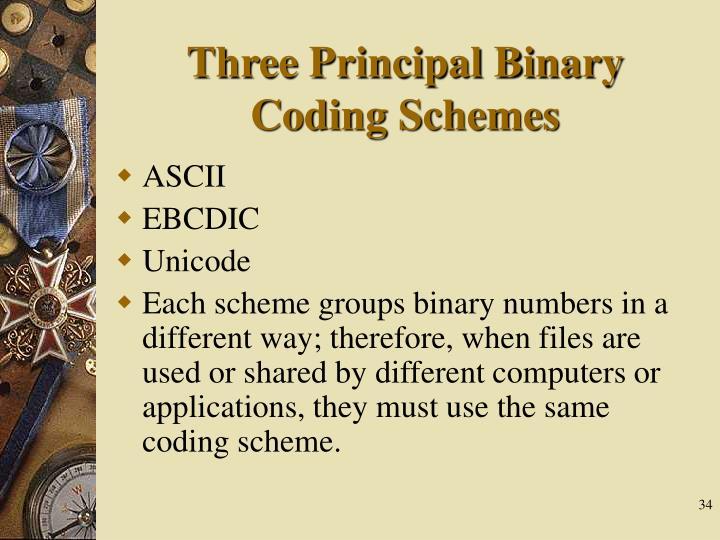 Three Principal Binary Coding Schemes