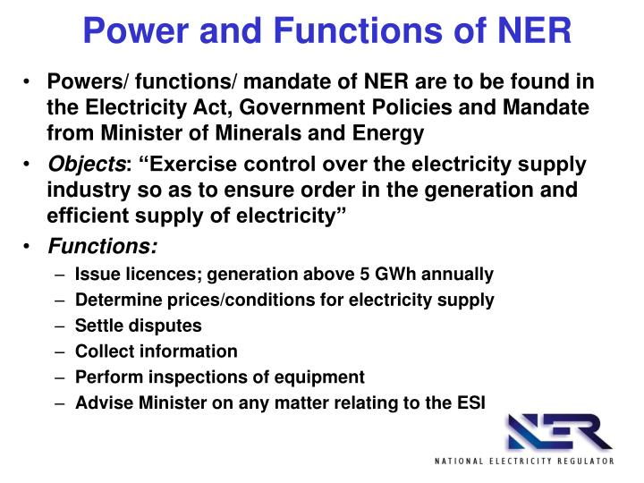 Power and Functions of NER