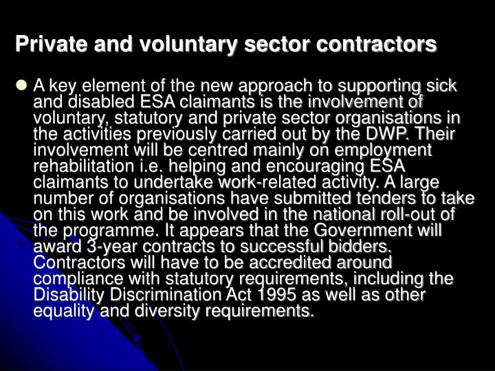 Private and voluntary sector contractors