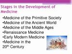 stages in the development of medicine