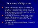summary of objectives