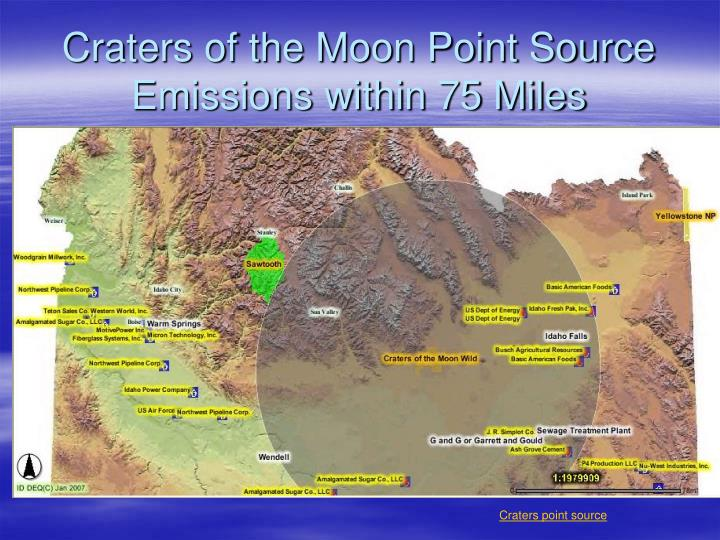 Craters of the Moon Point Source Emissions within 75 Miles