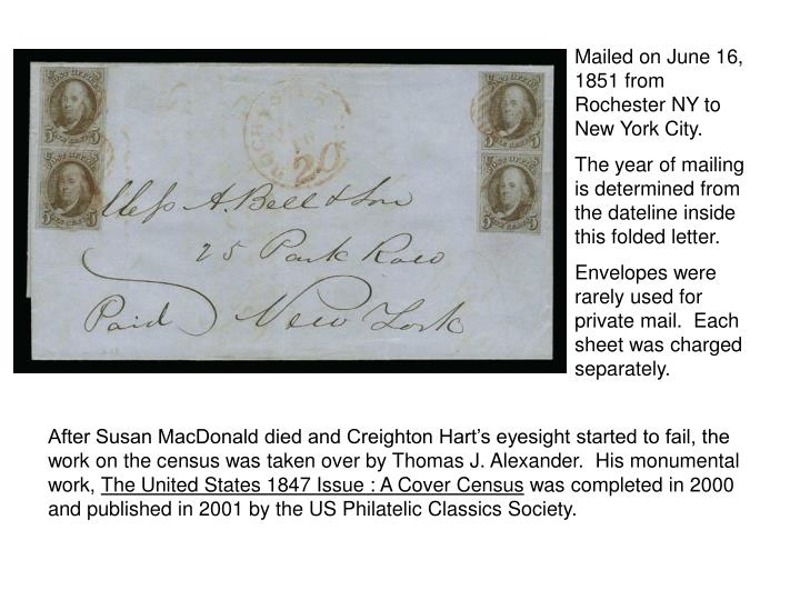 Mailed on June 16, 1851 from Rochester NY to New York City.