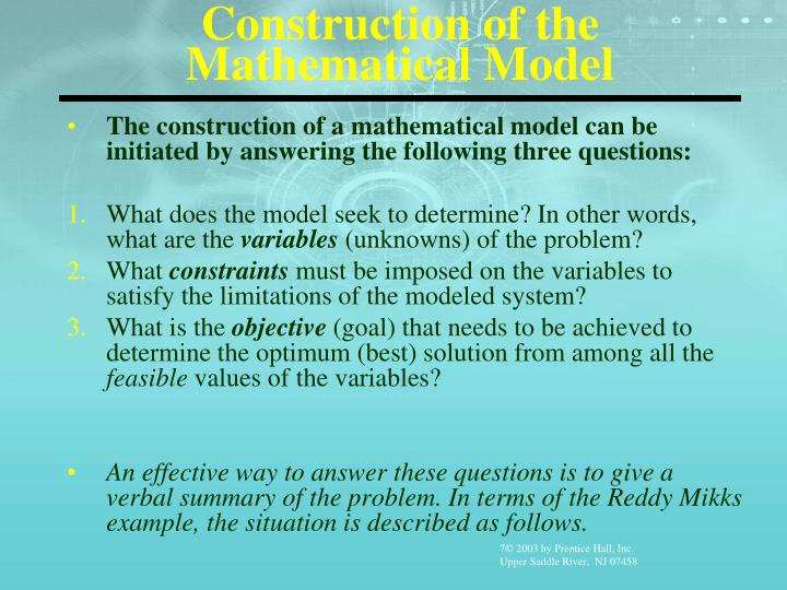 Construction of the Mathematical Model