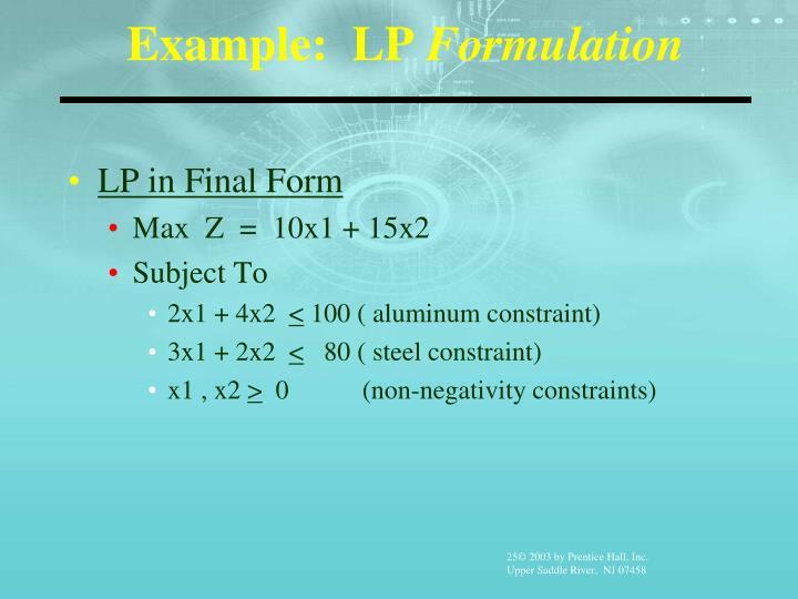 Example:  LP