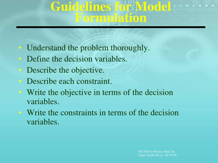 Guidelines for Model Formulation