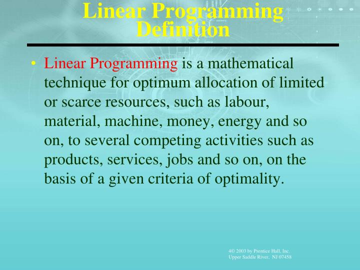 Linear Programming Definition