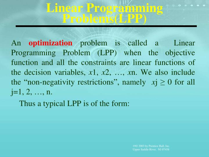 Linear Programming Problems(LPP)
