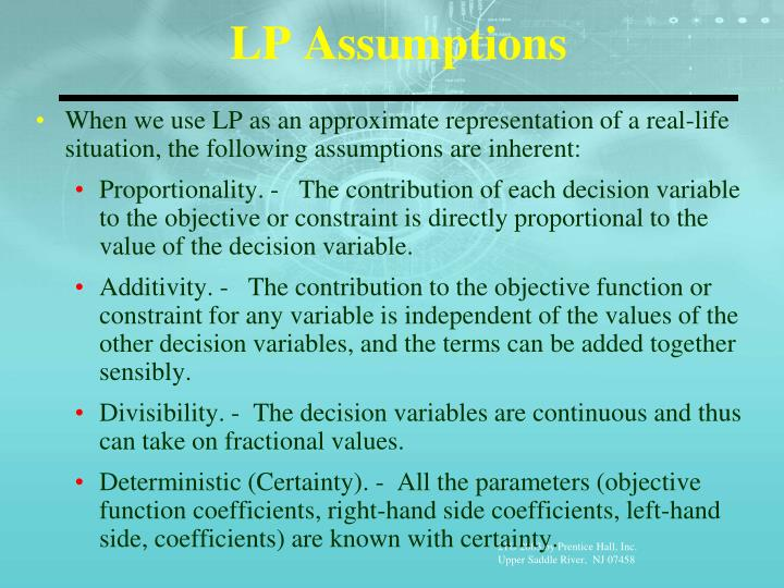 LP Assumptions