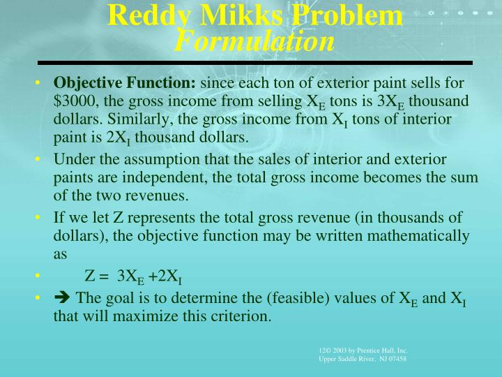 Reddy Mikks Problem