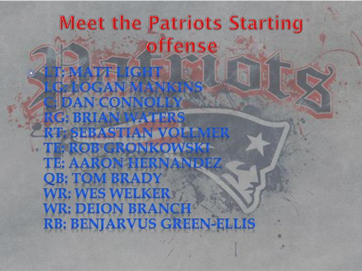 Meet the Patriots Starting offense