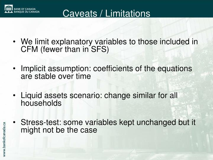 We limit explanatory variables to those included in CFM (fewer than in SFS)