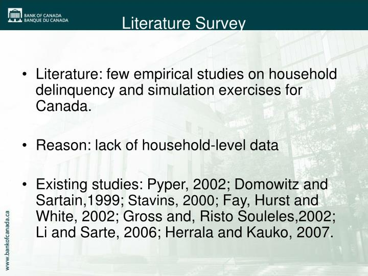 Literature: few empirical studies on household delinquency and simulation exercises for Canada.
