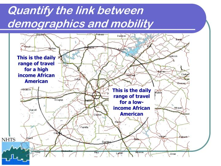 Quantify the link between demographics and mobility