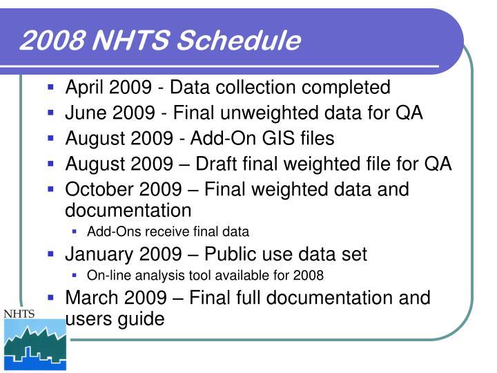 2008 NHTS Schedule