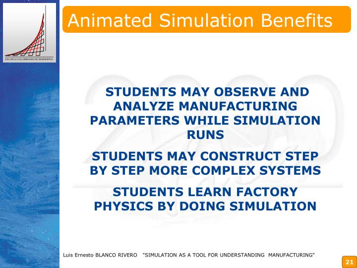 Animated Simulation Benefits