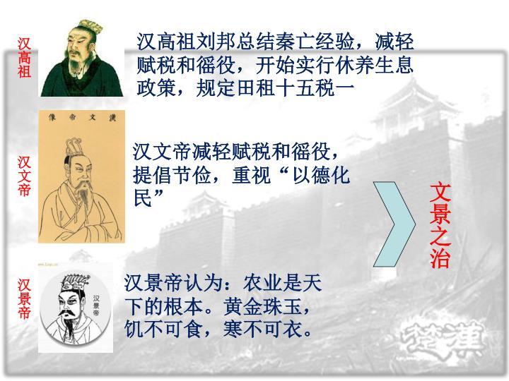 汉高祖刘邦总结秦亡经验,减轻赋税和徭役,开始实行休养生息政策,规定田租十五税一