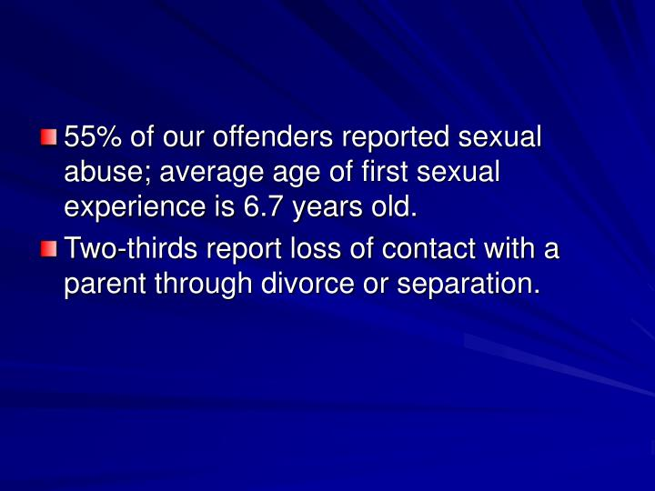 55% of our offenders reported sexual abuse; average age of first sexual experience is 6.7 years old.