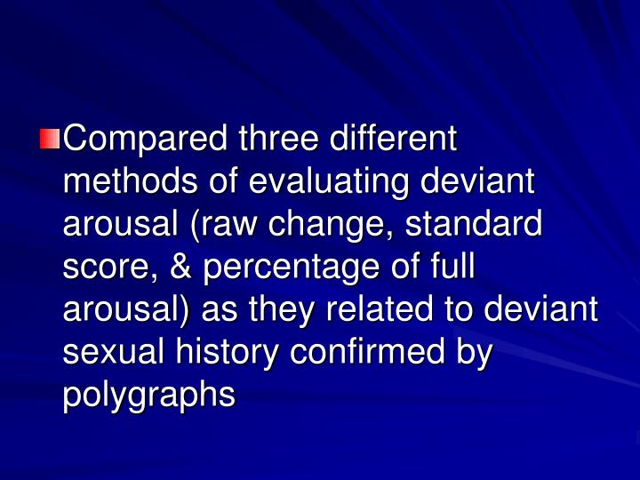 Compared three different methods of evaluating deviant arousal (raw change, standard score, & percentage of full arousal) as they related to deviant sexual history confirmed by polygraphs