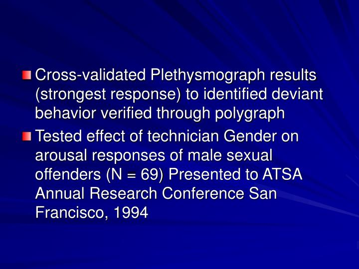 Cross-validated Plethysmograph results (strongest response) to identified deviant behavior verified through polygraph
