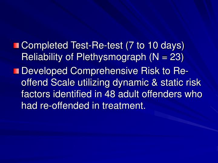 Completed Test-Re-test (7 to 10 days) Reliability of Plethysmograph (N = 23)