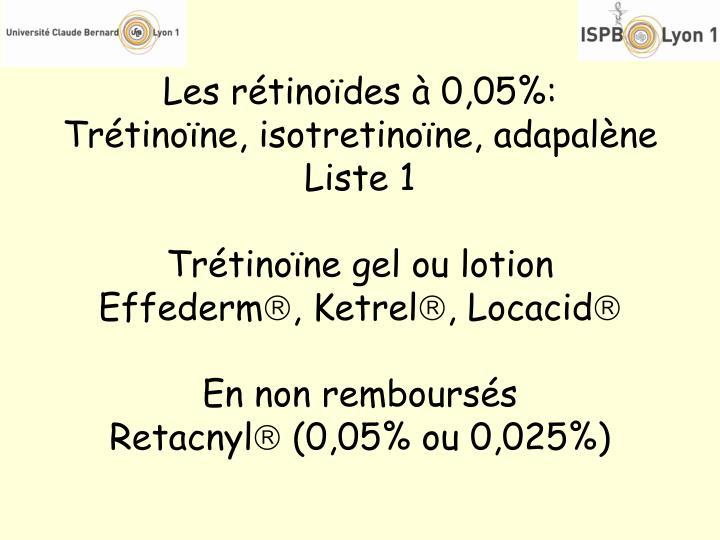 Les rétinoïdes à 0,05%: