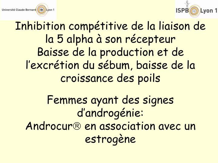 Inhibition compétitive de la liaison de la 5 alpha à son récepteur