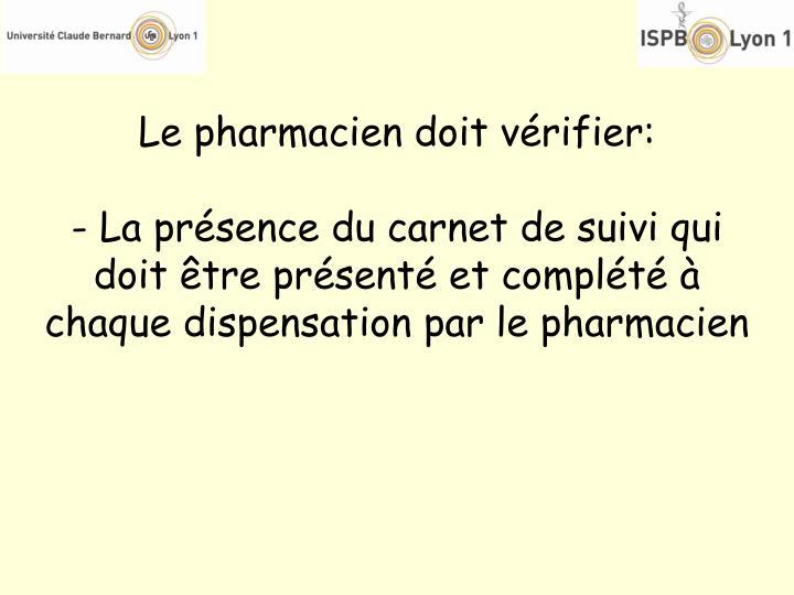 Le pharmacien doit vérifier: