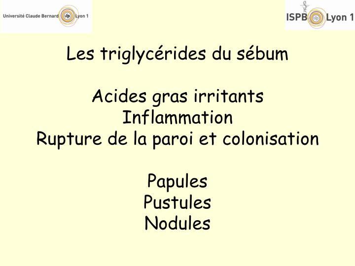 Les triglycérides du sébum