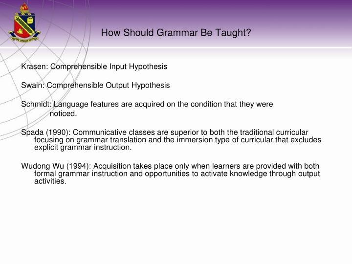 Krasen: Comprehensible Input Hypothesis