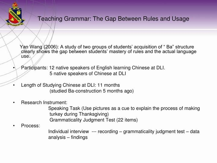 Teaching grammar the gap between rules and usage