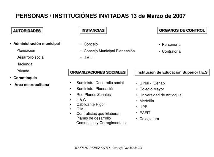 PERSONAS / INSTITUCIÓNES INVITADAS 13 de Marzo de 2007