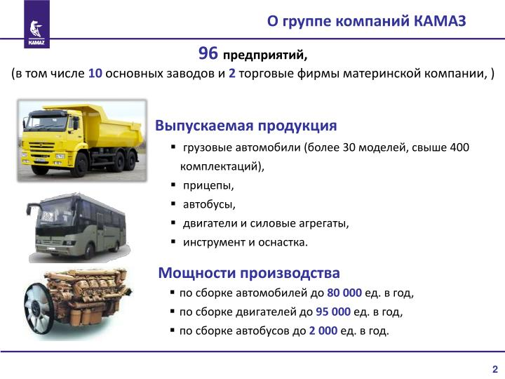 О группе компаний КАМАЗ