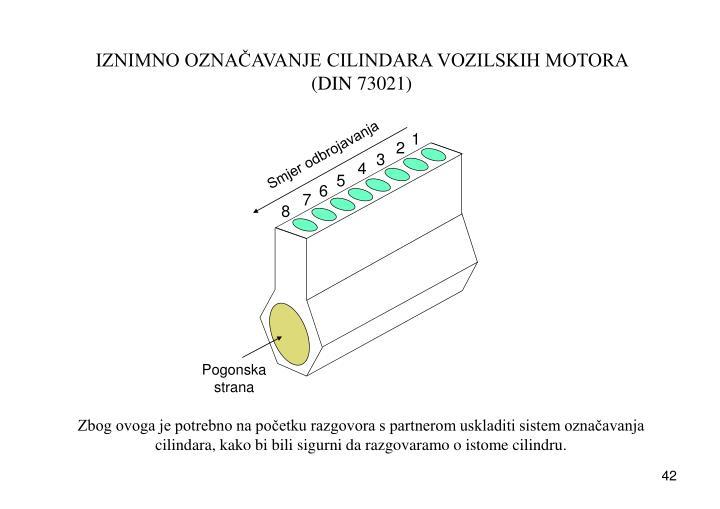 IZNIMNO OZNAČAVANJE CILINDARA VOZILSKIH MOTORA (DIN 73021)