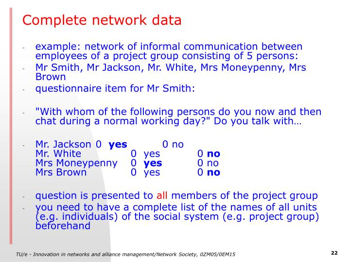 Complete network data