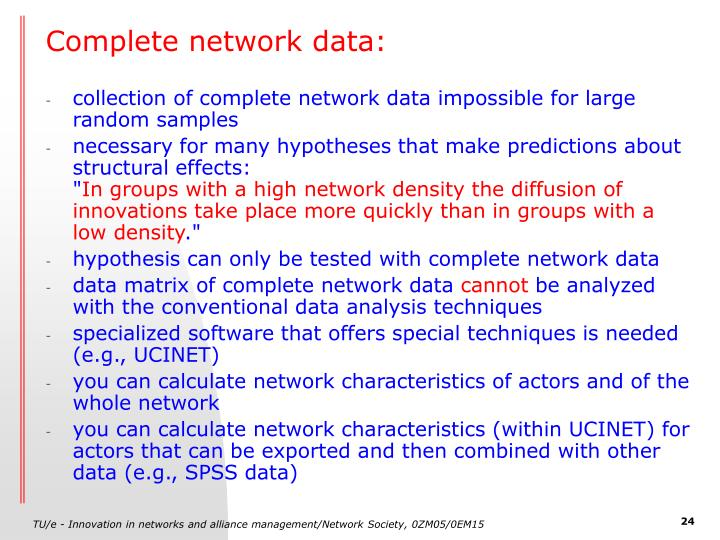 Complete network data: