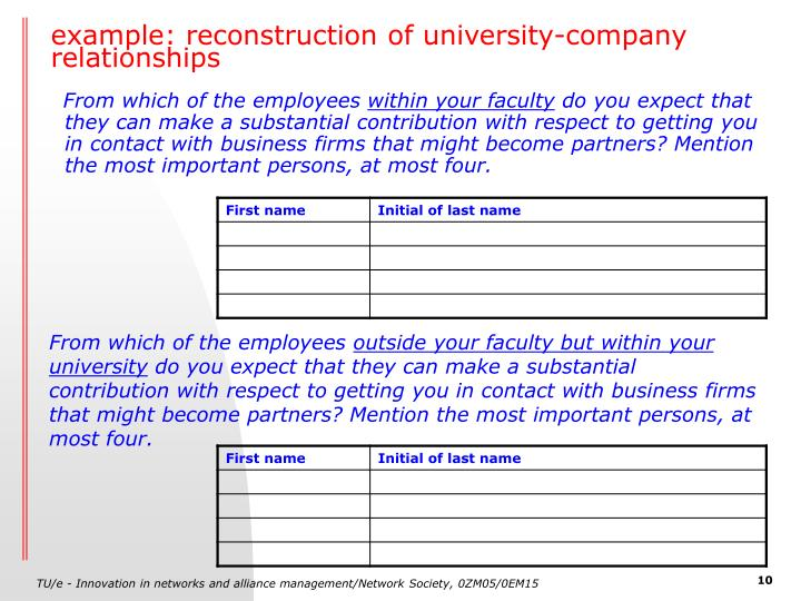 example: reconstruction of university-company relationships