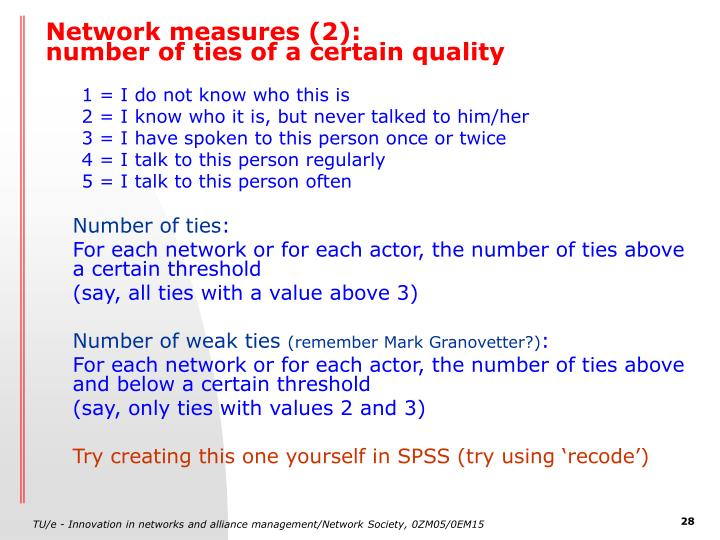 Network measures (2):