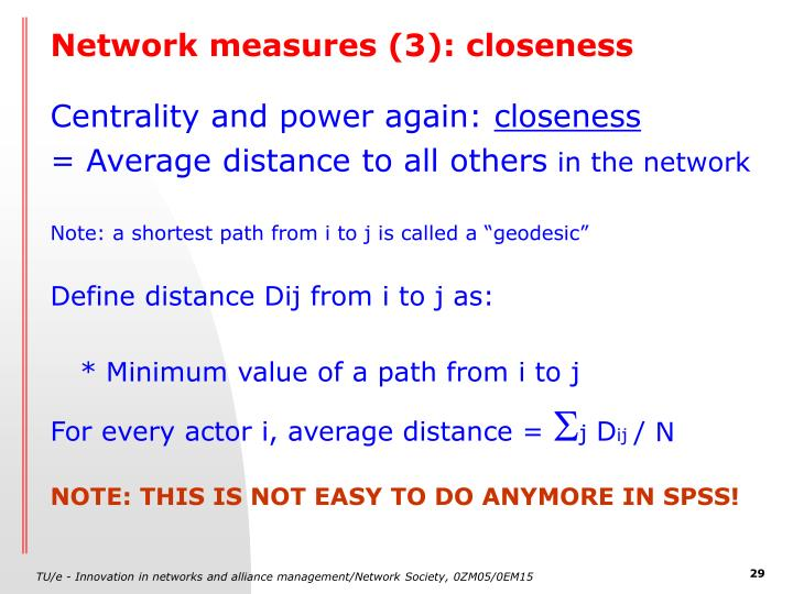 Network measures (3): closeness