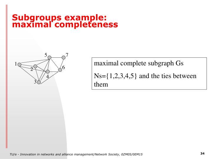 Subgroups example: