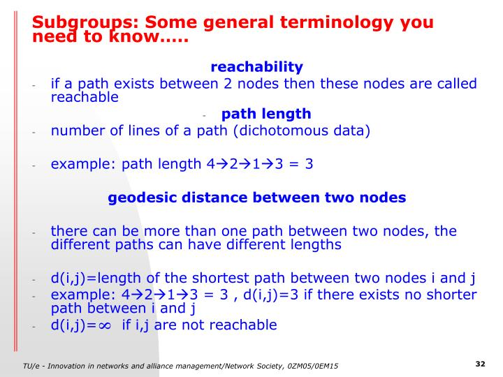 Subgroups: Some general terminology you need to know…..