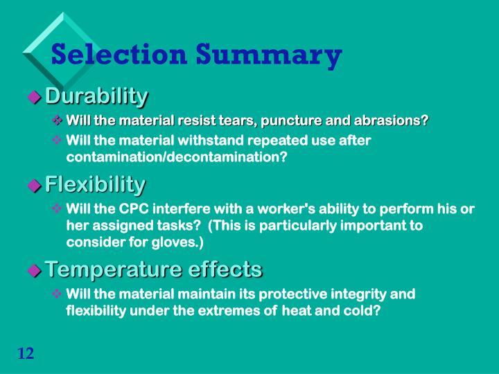 Selection Summary